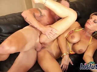 Fit and busty cougar gets fucked hard blonde big boobs busty