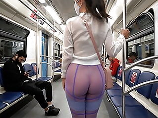 Transparent leggings and sheer shirt in public public nudity flashing milf