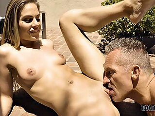 DADDY4K. Athletic man fucks cute sons outside by the pool cute girlfriend outdoor