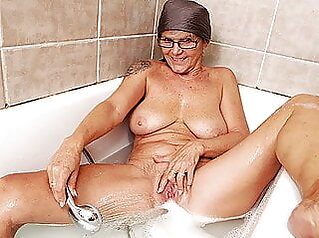 my grandma takes a hot shower amateur mature granny