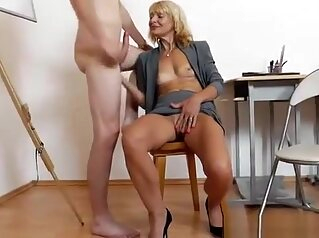 Mommy teacher playing plus a cock mature