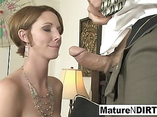 Busty MILF accountant fucks her favorite client blowjob hardcore mature
