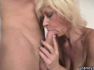 Pretty blonde gets doggystyled blowjob granny hardcore
