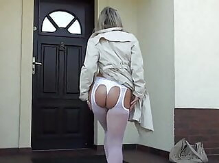 Back home in white stockings blonde stockings milf