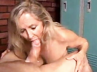 Granny gobbles cock for cum in mouth blowjob mature milf