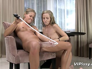Lesbians In White Stocking Playing With Their Piss blonde cunnilingus fetish