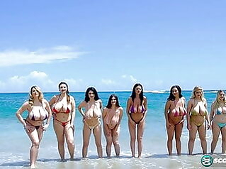 8 huge tittied babes bouncing and jiggling beach hd videos big natural tits