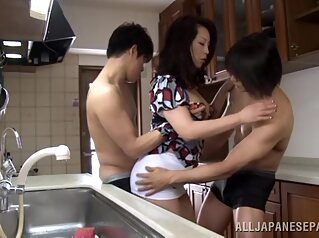 Hot Japanese wife Neko Ayami in naughty threesome asian big tits blowjob