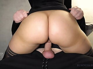 beauty in little black dress rides dick - business-bitch amateur blowjob stockings
