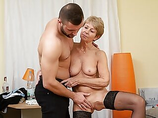 MATURE4K. Woman is old but still wants to fuck, so boss fucks her masturbation big boobs stockings