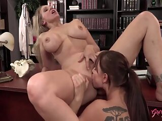 Lesbian Boss Julia Seduces Nurse Aidra Fox big tits blonde brunette