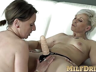 MILF Linda G sucks and rides matures Kathy White's strap-on babe blonde fingering
