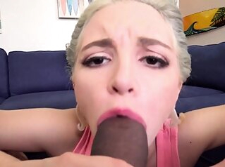 Teen stepsister squirts all over stepbro big cocks blonde blowjob
