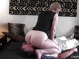 Would you eat your grandma's big stinky ass? 2 femdom old & young granny