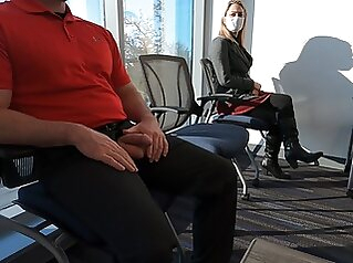 I pull my dick out in the waiting room and she sucks my cock blowjob cumshot public nudity