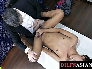 Asian twink barebacked by older man in the office gay asian office